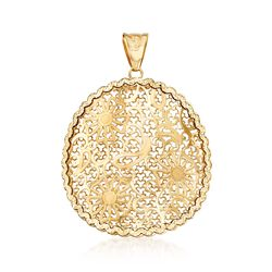 Italian 14kt Yellow Gold Filigree Flower Pendant, , default