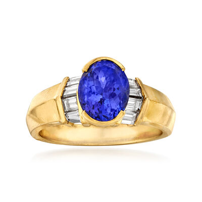 C. 1980 Vintage 2.10 Carat Tanzanite and .76 ct. t.w. Diamond Ring in 18kt Yellow Gold, , default