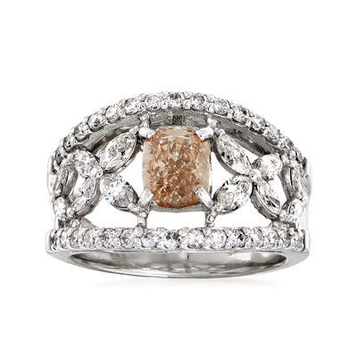 C. 1980 Vintage 2.17 ct. t.w. Brown and White Diamond Open-Space Flower Ring in Platinum, , default