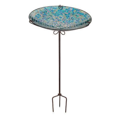 Blue Glass Tile Birdbath/Feeder Decorative Garden Stake, , default