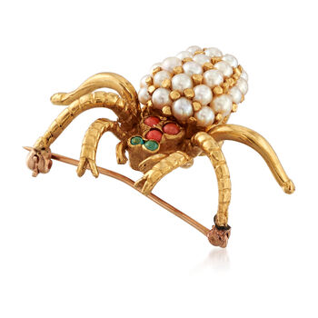 C. 1950 Vintage Cultured Pearl and Multi-Stone Spider Pin in 18kt Yellow Gold, , default