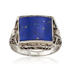 C. 1950 Vintage Carved Blue Lapis Ring in 18kt White Gold, , default