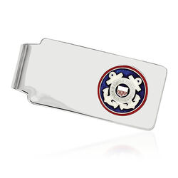 Sterling Silver U.S Coast Guard Enameled Engravable Money Clip, , default