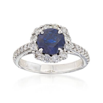 C. 2000 Vintage 1.50 Carat Sapphire and 1.00 ct. t.w. Diamond Ring in 14kt White Gold, , default