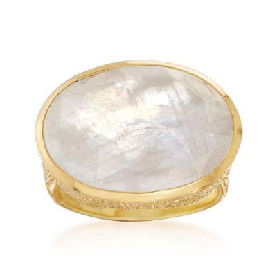 Moonstone Ring in 18kt Gold Over Sterling, , default