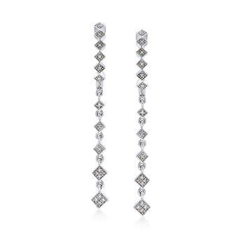 .10 ct. t.w. Diamond Linear Drop Earrings With Hoop in Sterling Silver, , default
