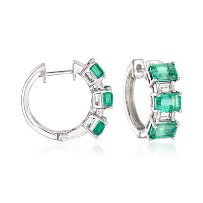 3.30 ct. t.w. Emerald and .15 ct. t.w. Diamond Hoop Earrings in 14kt White Gold, , default