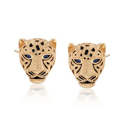 .10 ct. t.w. Sapphire and Black Onyx Cheetah Earrings in 14kt Yellow Gold, , default