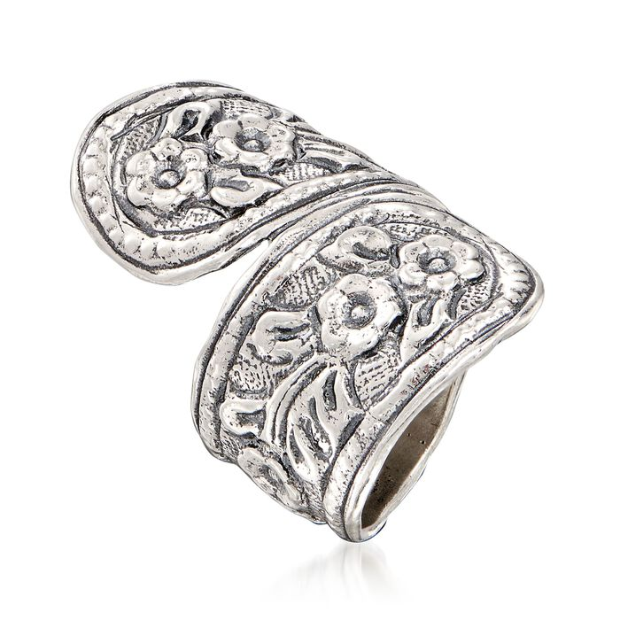 Sterling Silver Textured Floral Spoon Ring