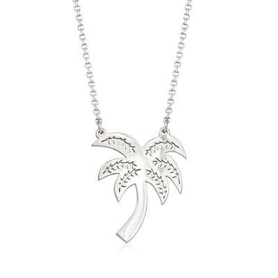 Sterling Silver Palm Tree Necklace, , default