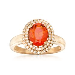 9x7mm Fire Opal and .29 ct. t.w. Diamond Ring in 18kt Yellow Gold, , default