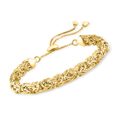 18kt Gold Over Sterling Silver Byzantine Bolo Bracelet