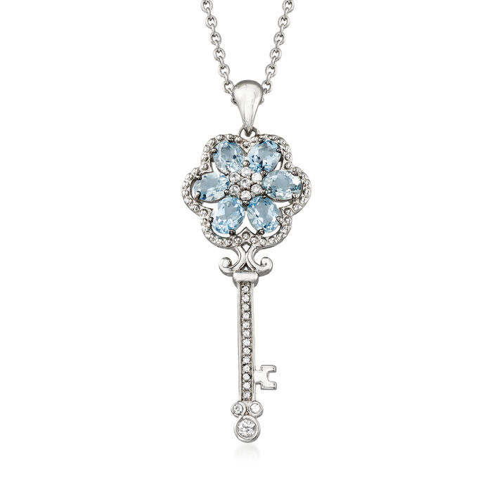 2.40 ct. t.w. Aquamarine and .40 ct. t.w. White Zircon Key Pendant Necklace in Sterling Silver. 20""