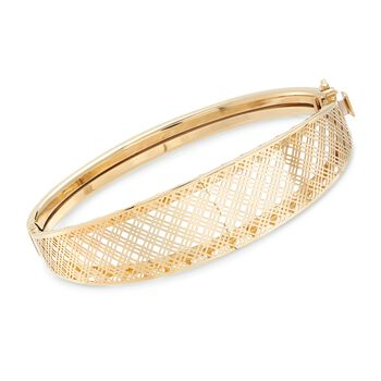 "Italian 14kt Yellow Gold Filigree Bangle Bracelet. 7.5"", , default"