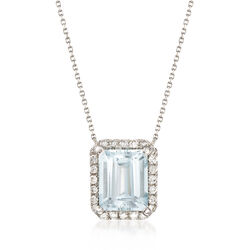 3.30 Carat Aquamarine and .35 ct. t.w. Diamond Halo Necklace in 14kt White Gold, , default