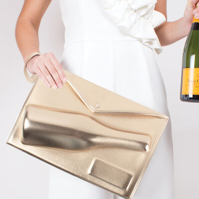 Large Gold Metallic Champagne Bottle Clutch
