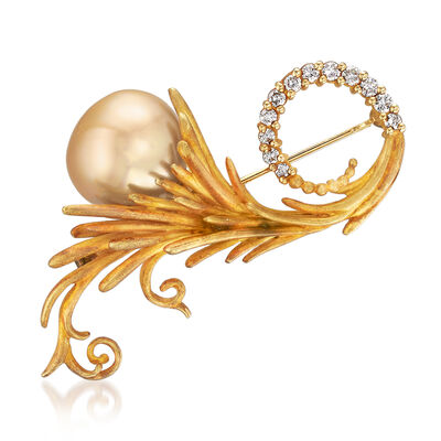 C. 1970 Vintage 15mm Cultured South Sea Pearl and .50 ct. t.w. Diamond Burst Pin in 18kt Yellow Gold, , default