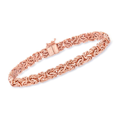 14kt Rose Gold Byzantine Bracelet with Magnetic Clasp, , default
