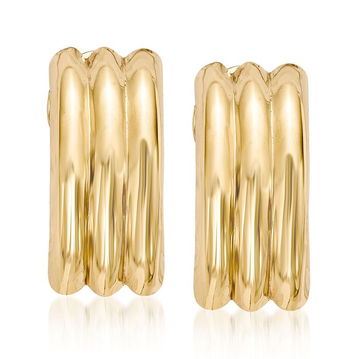 14kt Yellow Gold Curved Three-Row Clip-On Earrings