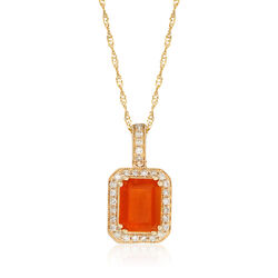 Fire Opal and .16 ct. t.w. Diamond Pendant Necklace in 14kt Yellow Gold, , default