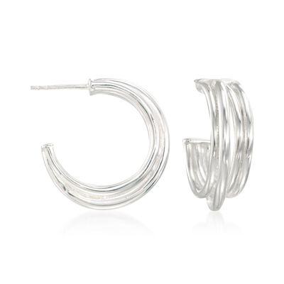 """Zina Sterling Silver """"Wired"""" Crisscross Hoop Earrings, , default"""