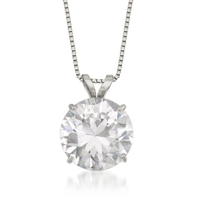 3.00 Carat CZ Solitaire Necklace in 14kt White Gold, , default