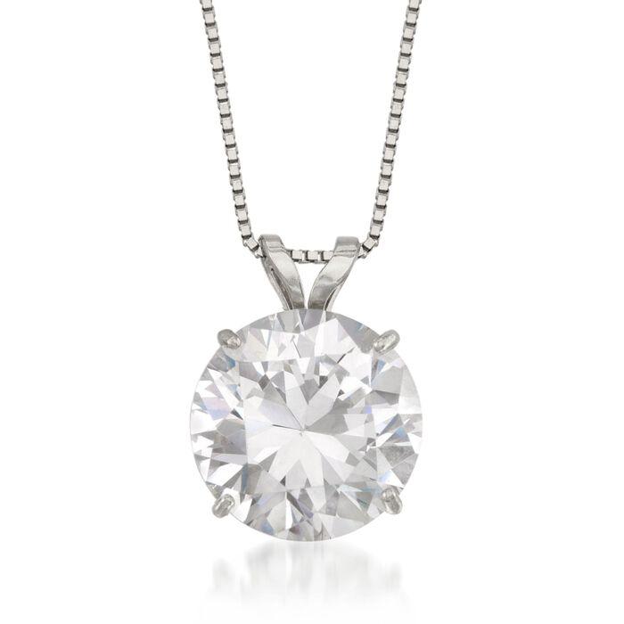 3.00 Carat CZ Solitaire Necklace in 14kt White Gold, , default