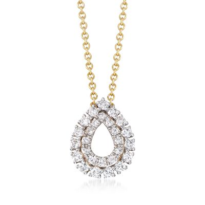 .25 ct. t.w. Diamond Open Double Frame Teardrop Necklace in 14kt Yellow Gold