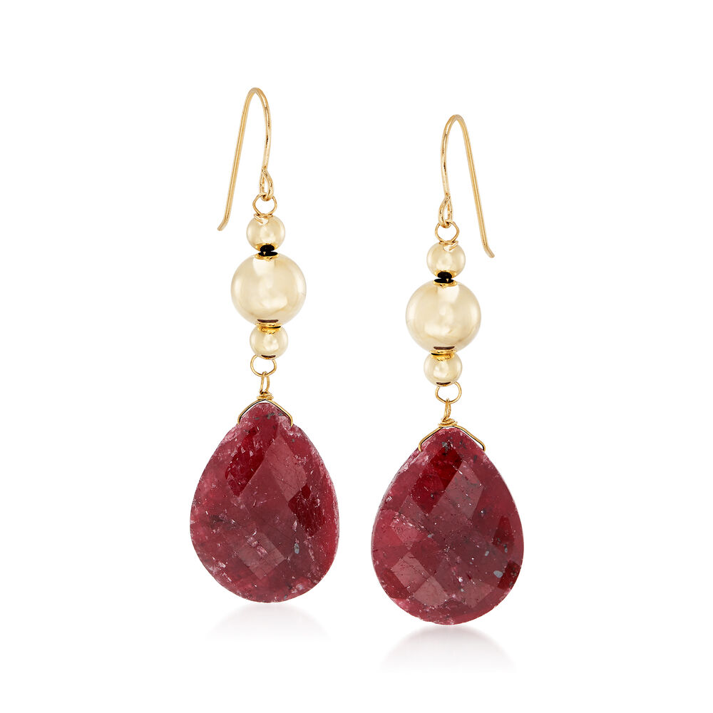 T W Ruby Drop Earrings In 14kt Yellow Gold Default
