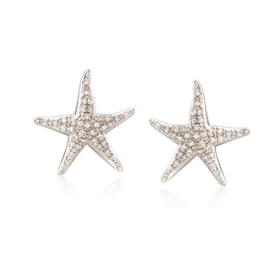 .20 ct. t.w. Diamond Starfish Earrings in Sterling Silver, , default