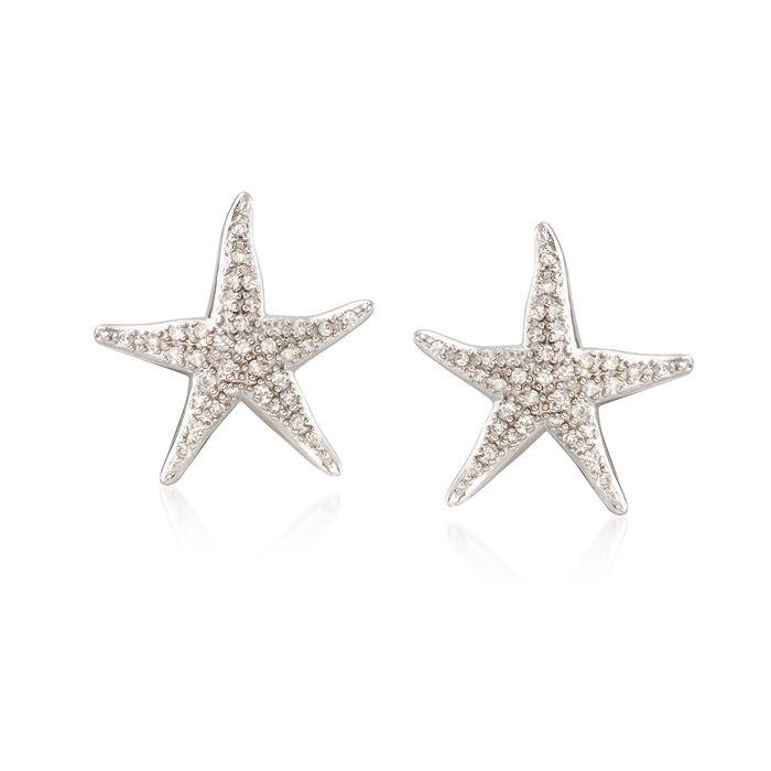 .20 ct. t.w. Diamond Starfish Earrings in Sterling Silver, , default