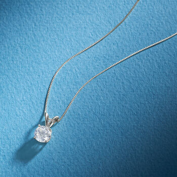 1.00 Carat Diamond Solitaire Necklace in Platinum, , default