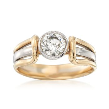 C. 1990 Vintage .85 Carat Diamond Ring in 14kt Two-Tone Gold. Size 8.5, , default