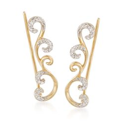 .10 ct. t.w. Diamond Scrollwork Ear Crawlers in 14kt Gold Over Sterling, , default
