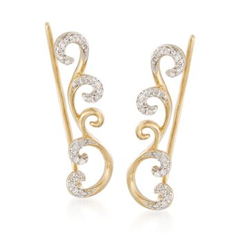 .10 ct. t.w. Diamond Scrollwork Ear Crawlers in 14kt Gold Over Sterling , , default