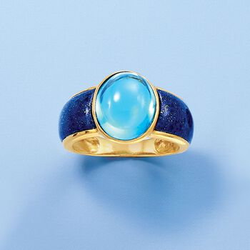 7.75 Carat Blue Topaz and Lapis Ring in 14kt Yellow Gold. Size 5, , default