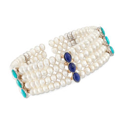 4.5-5mm Cultured Pearl With Turquoise and Lapis Cuff Bracelet in 14kt Yellow Gold and Sterling Silver, , default