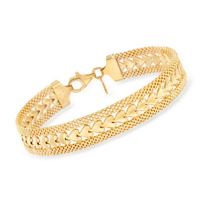 Italian 18kt Gold Over Sterling Silver Heart Motif Bracelet, , default