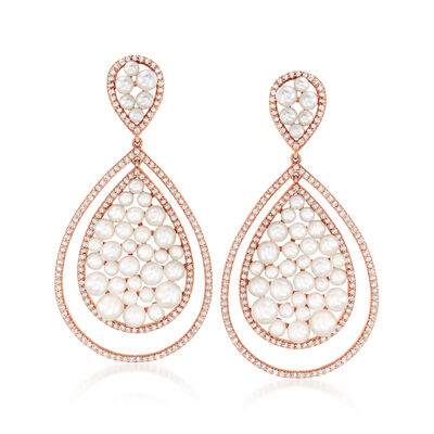 2-4.5mm Cultured Pearl and 1.30 ct. t.w. Diamond Teardrop Earrings in 18kt Rose Gold, , default