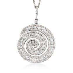 """3.65 ct. t.w. Diamond Large Swirl Pendant Necklace in 18kt White Gold. 18"""", , default"""