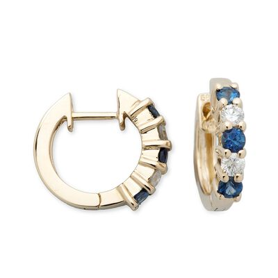 .60 ct. t.w. Sapphire and .25 ct. t.w. Diamond Hoop Earrings in 14kt Yellow Gold, , default