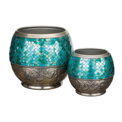 Set of 2 Blue Jewel Outdoor Decorative Garden Planters, , default