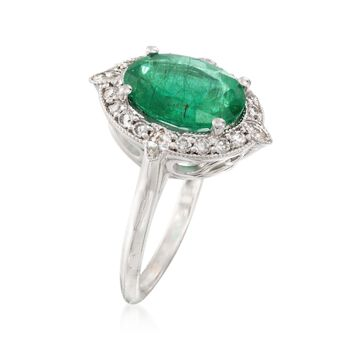 2.80 Carat Emerald and .62 ct. t.w. Diamond Ring in 18kt White Gold, , default