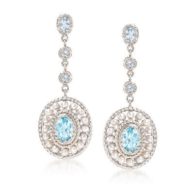 2mm Cultured Pearl and 2.60 ct. t.w. Blue Topaz Drop Earrings in Sterling Silver, , default