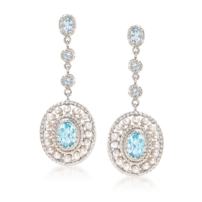 2mm Cultured Pearl and 2.60 ct. t.w. Blue Topaz Drop Earrings in Sterling Silver. , , default