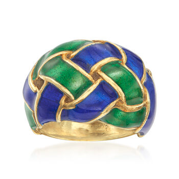 C. 1980 Vintage 14kt Yellow Gold Basketweave Dome Ring With Blue and Green Enamel. Size 5.5, , default