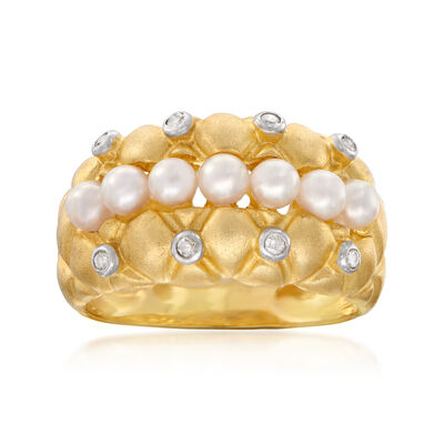 C. 1990 Vintage 3mm Cultured Pearl and .10 ct. t.w. Diamond Quilted Ring in 14kt Yellow Gold, , default