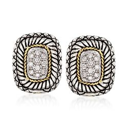 Andrea Candela .27 ct. t.w. Pave Diamond Earrings With 18kt Yellow Gold in Sterling Silver, , default
