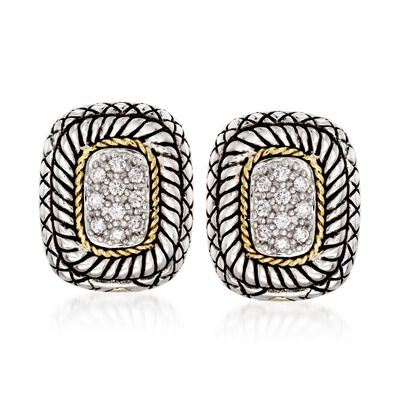 Andrea Candela .27 ct. t.w. Pave Diamond Earrings with 18kt Yellow Gold in Sterling Silver , , default