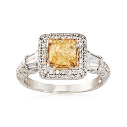 C. 2000 Vintage .75 Carat Square Cushion-Cut Yellow and 1.00 ct. t.w. White Diamond Ring in 14kt White Gold, , default